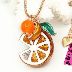 🍊BETSEY JOHNSON Orange Fruit Crystal Necklace